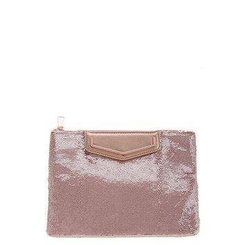 Rose Gold Sequin Oversized Clutch