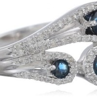 Sterling Silver Blue Sapphire and Diamond Paisley Ring (1/5 cttw, I-J Color, I2-I3 Clarity), Size 7