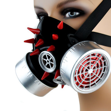 Cyber Goth Industrial Respirator Mask Red Spike Silver Canisters