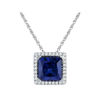 10kt White Gold Womens Princess Lab-Created Blue Sapphire Solitaire Pendant 1-7/8 Cttw