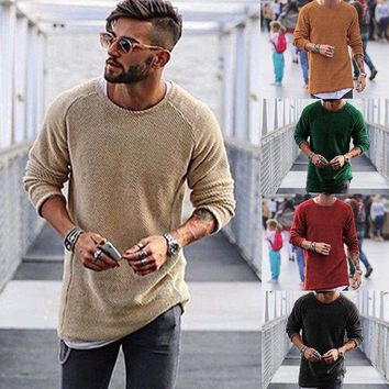 US Fashion Mens Slim-Fit R-Neck Long Sleeve Muscle Tee Mens Casual Tops HOT