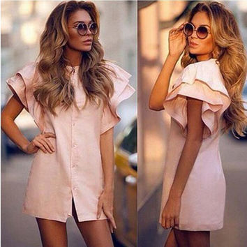 Pink Lotus Sleeve Button Down Mini Dress