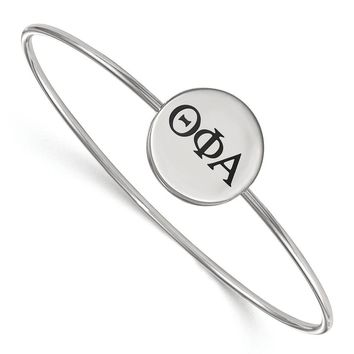 Sterling Silver Theta Phi Alpha Enamel Bangle - 8 in.