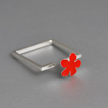 Modern Square Sterling Silver Ring Coral Red by thisandthatgallery