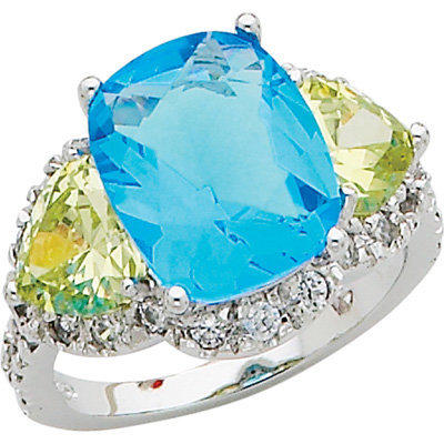 Sterling Silver Blue and Light Green Cubic Zirconia Ring|Meijer.com
