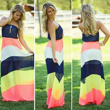 Strapless Striped Blouson A-line Maxi Dress