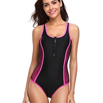 LALAVAVA One Piece Sport Racing Training Zip Front Swimsuits for Women