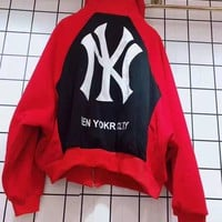 """""""NY"""" Woman Leisure Fashion Letter  Personality Printing Loose Hooded Spell Color Zipper Long Sleeve Tops Coat"""