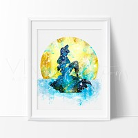 Ariel, Little Mermaid 5 Watercolor Art Print