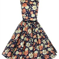 Lindy Bop 50's Audrey Floral Style Dress In Black | Tiger Milly
