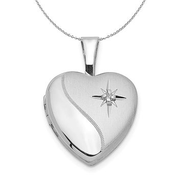 12mm Polished and Satin Diamond Heart Silver Locket Necklace