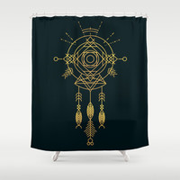 Cosmic Gold Dreamcatcher Shower Curtain by Budi Satria Kwan
