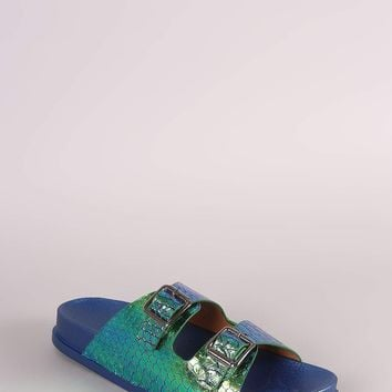Holographic Snakeskin Buckled Slide Sandal