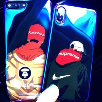 Supreme Blue Iphone8 Iphone8 Phone Case Iphonex Anti Crash Lover Ape 6s Soft Shell