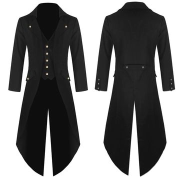 Men's Coat Tailcoat Jacket Gothic Frock Coat Uniform Costume Praty Outwear