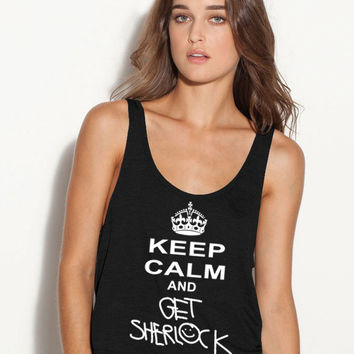 Keep Calm and Get Shelock Ladies Flowy Tank Top