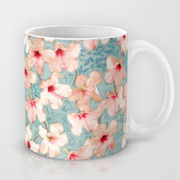 Shabby Chic Hibiscus Patchwork Pattern in Peach & Mint Mug by Micklyn