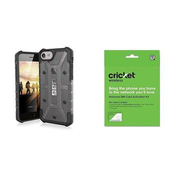 VONEIR6 UAG iPhone 8 / iPhone 7 / iPhone 6s [4.7-inch screen] Plasma Feather-Light Rugged [ASH] Military Drop Tested iPhone Case and Cricket Wireless BYOD Prepaid SIM Card