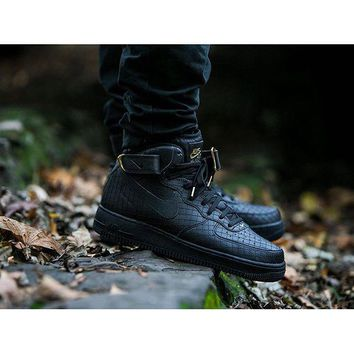 PEAPON Nike Air Force 1 Mid Pattern Black For Women Men Running Sport Casual Shoes Sneakers