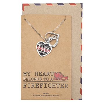 Blanche Wife Necklace, Infinity Heart and Heart Shaped Plate Pendants, Gifts for Wife