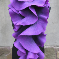 Long ruffle felted scarf Jabot Neck warmer Plum Purple