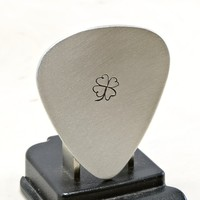 Clover Guitar Pick Handmade from Aluminum with luck of the Irish