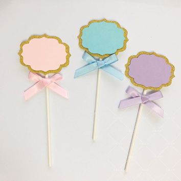 12pcs Can write cupcake toppers Birthday Cupcake Toppers Food Picks Dance party