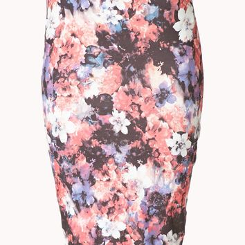 Watercolor Floral Bodycon Skirt