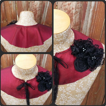 Detachable Fabric Collar in Red Silk with Black Flower and Bead Detail Capelet Shrug Bib by From the Hope Chest
