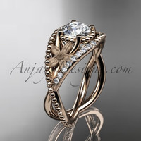 "14kt rose gold diamond floral wedding ring, engagement ring with ""Forever One"" Moissanite center stone ADLR88"