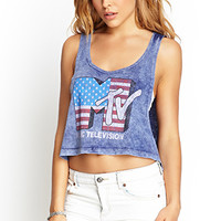 FOREVER 21 MTV Cropped Muscle Tank Blue/White
