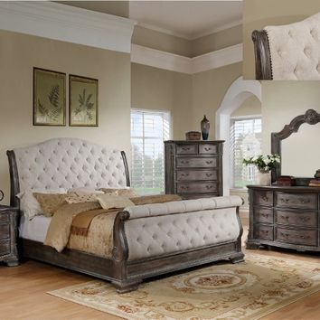 5 pc Sheffield II collection antique grey finish wood padded headboard bedroom set
