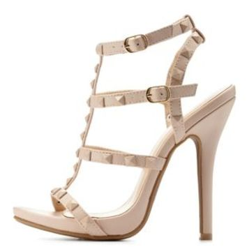 Nude Studded T-Strap Dress Sandals by Charlotte Russe