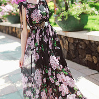 Cherry Blossom Black And Pink Chiffon Long Dress. Summer Autumn Floral Dress