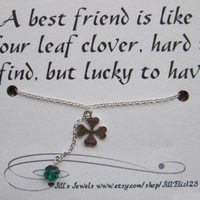 Lucky Charm Necklace and Friendship Quote Inspirational Card- Bridesmaids Gift - Friends Forever - Quote Gift