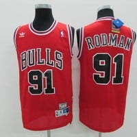 Best Deal Online Mitchell & Ness Hardwood Classics NBA Basketball Jerseys Chicago Bulls #91 Dennis Rodman Red