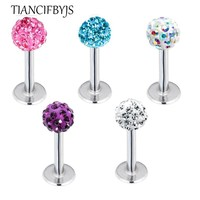 TIANCIFBYJS 1piece 3mm 6/8/10mm long ,Ball Monroe Lip Labret Ring Bar Stud Tragus Helix Cartilage Body Piercing 16G Body JEWELRY