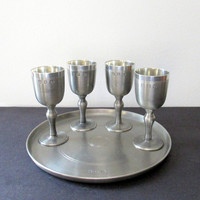 John Somers Pewter Liqueur Cups and Tray Vintage 1970s