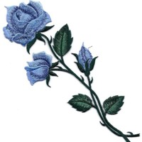 "BLUE ROSE LONG STEM (9 3/4"") - GARDEN - FLOWER - Iron On Embroidered Patch"