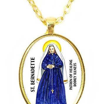 St Bernadette Patron Saint of Healing Bodily Illness Huge 30x40mm Bright Gold Pendant with Chain Necklace