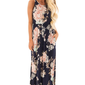 Navy Floral Print Maxi Dress with Side Pockets