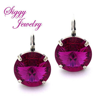 Swarovski® Crystal Statement Earrings, Mega Size 18mm Fuchsia Rivoli, Drops or Studs, Bold and Beautiful, Assorted Finishes and Colors