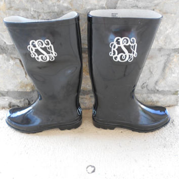 Monogrammed Rain Boots Black  Font Shown MASTER by MONOGRAMSINC