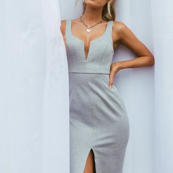 Long Kiss Goodnight Dress (Light Grey)🌟