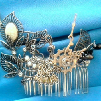 Custom Hair jewellery wire wrapped comb unique metal hair comb cosplay flower/ fascination