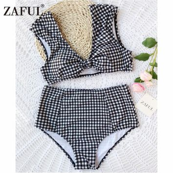 ZAFUL Bikini New Checked High Waisted Tie Front Plaid Bikini High Rise Cut Bikini Checkered Bathing Suit Swimsuit Swimwear
