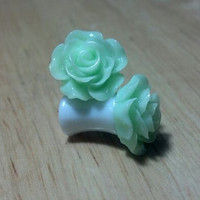 Buy 2 Pairs/Get 3rd FREE! Green Pastel Small Flower Rose Plugs/Gauges 10G 8G 6G 4G 2G 0G 00G 1/2 9/16