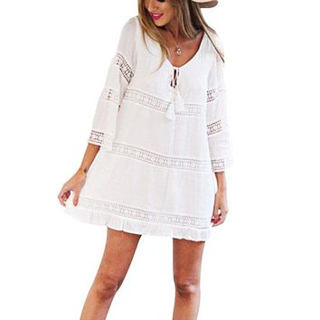 Womail  Summer Swimsuit Lace Hollow Crochet Beach Bikini Cover Up 3/4 Sleeve Women Swimwear Beach Dress White Beach Tunic Shirt