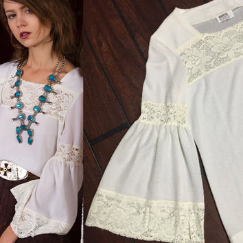 70s White Lacy Bell Sleeve Boho Blouse - S M | Angel Sleeve Gauzy Polyester Bohemian Hippie Peasant Top | 1970s Long Sleeved Blouse -Small