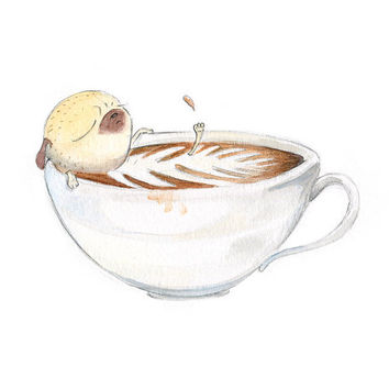 Pug Coffee Break Art Print - Latte Art Print, Cute Pug Print, Relaxing Bathroom Art from an Original Watercolor Pug Illustration by InkPug!